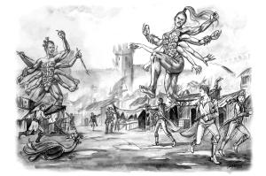 A pair of Haitathe Warriors destroy the city of Rostov (Carol Phillips)