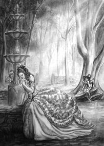 Lady Hathaline of Blanchefort seeing through time. (Carol Phillips)