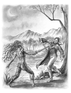 Lord Kabyl sword fighting with Princess Vroc of Xandarr by the edge of the River Torr (Carol Phillips)